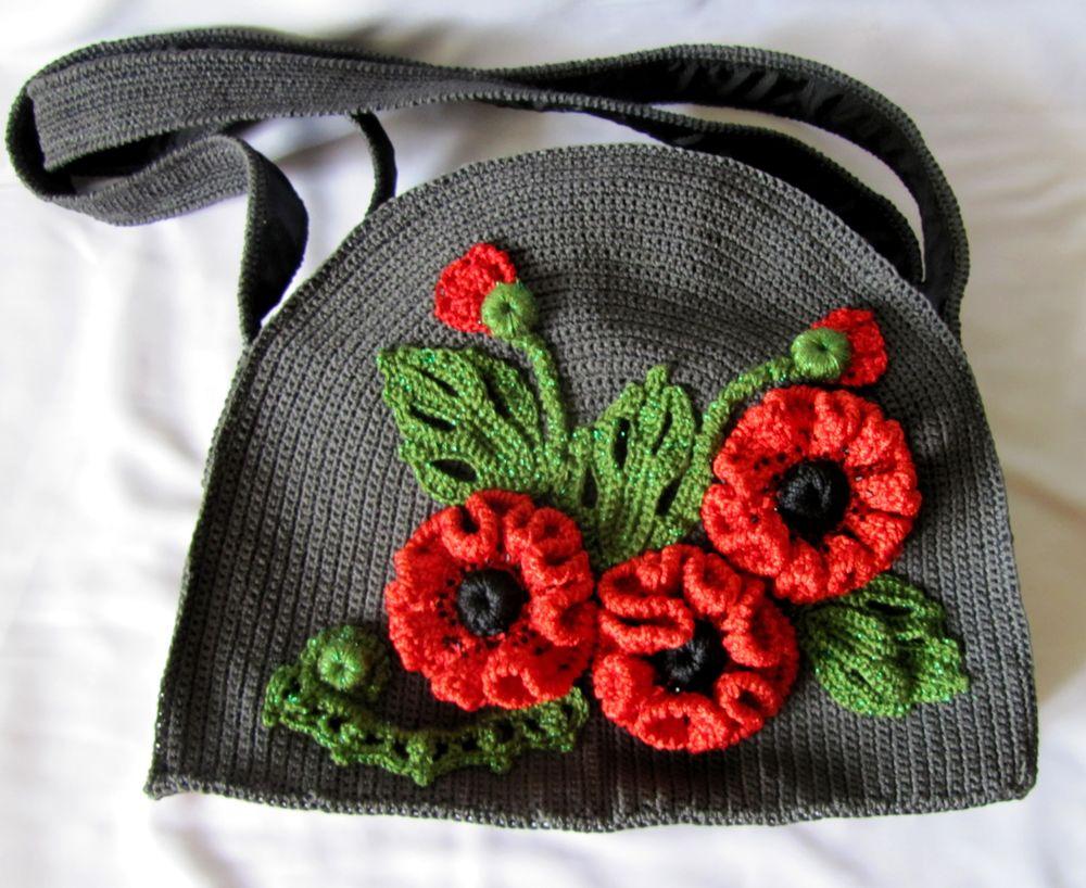 вязание, вязание крючком, вязанная сумка, декор из маков, вязанные маки