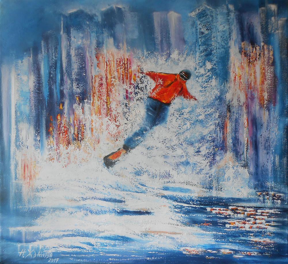 сноубордист, картина сноубордист, картина маслом город, картина город ночью, картина маслом спорт, картина спорт, картина город, картина купить спб, наталья жданова