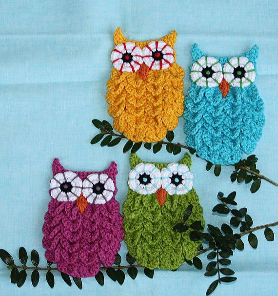 Owl in Crocodile Stitch  Crochet Pattern Applique by CAROcreated, €4.50  These owls are so easy to make and will look adorable in the nursery!