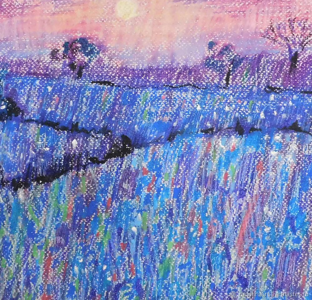 Drawing Flower Field with Oil Pastel, фото № 3