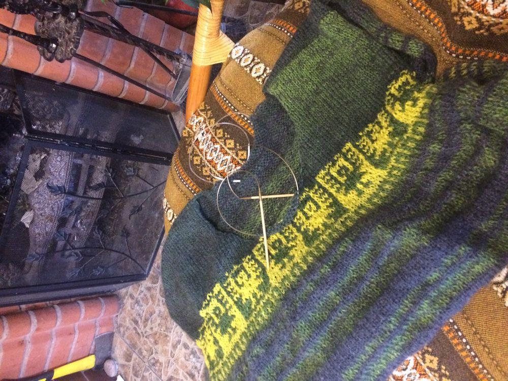 свитер спицами, итальянская пряжа, стиль бохо