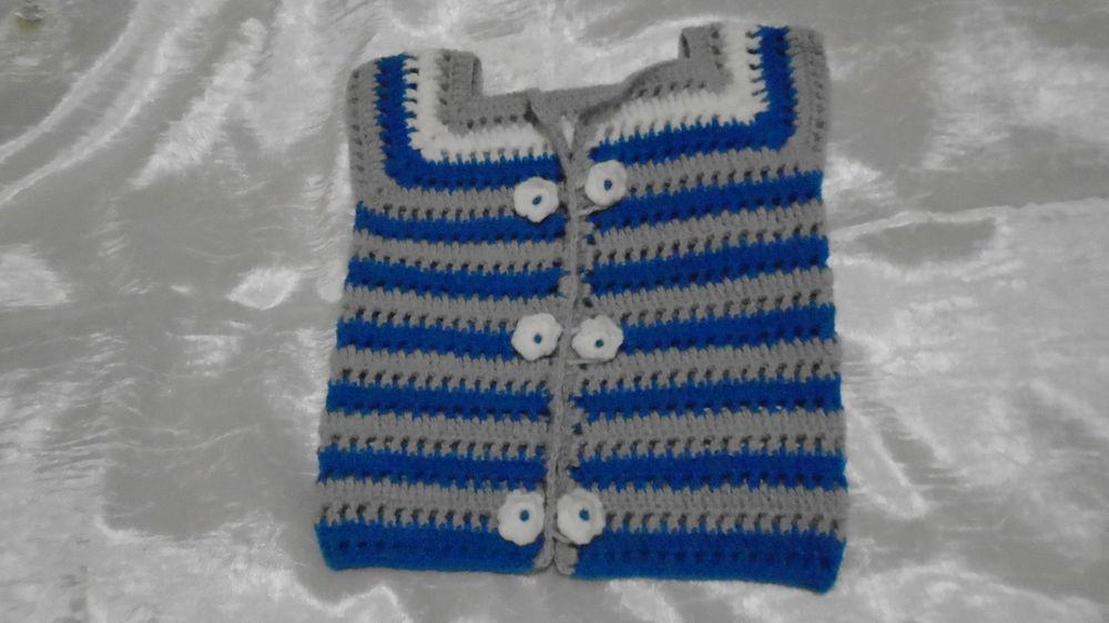 жилет вязаный, полосатый, синий, подарок девушке, подарок на новый год, для детей