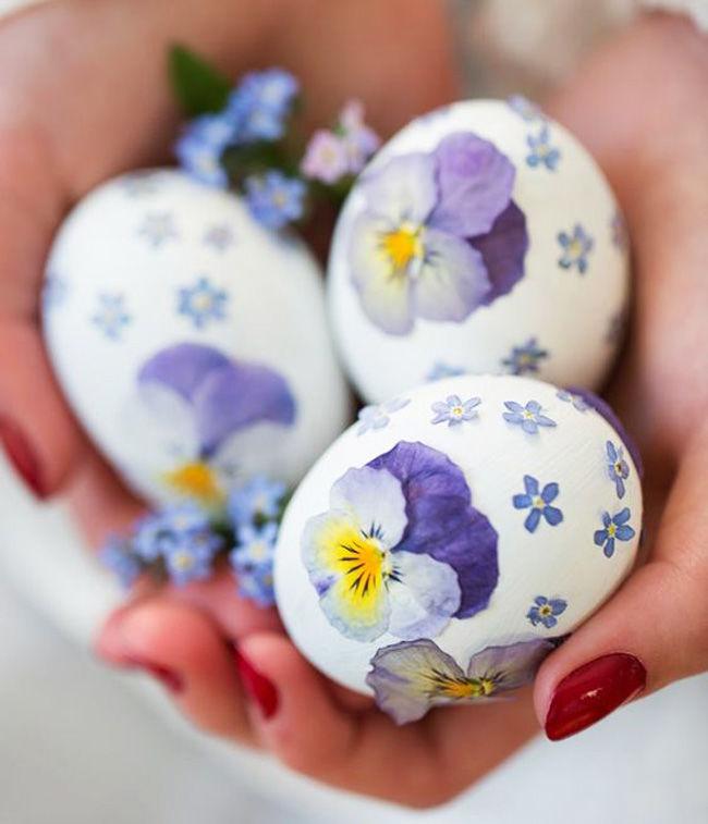 pressed flower easter eggs