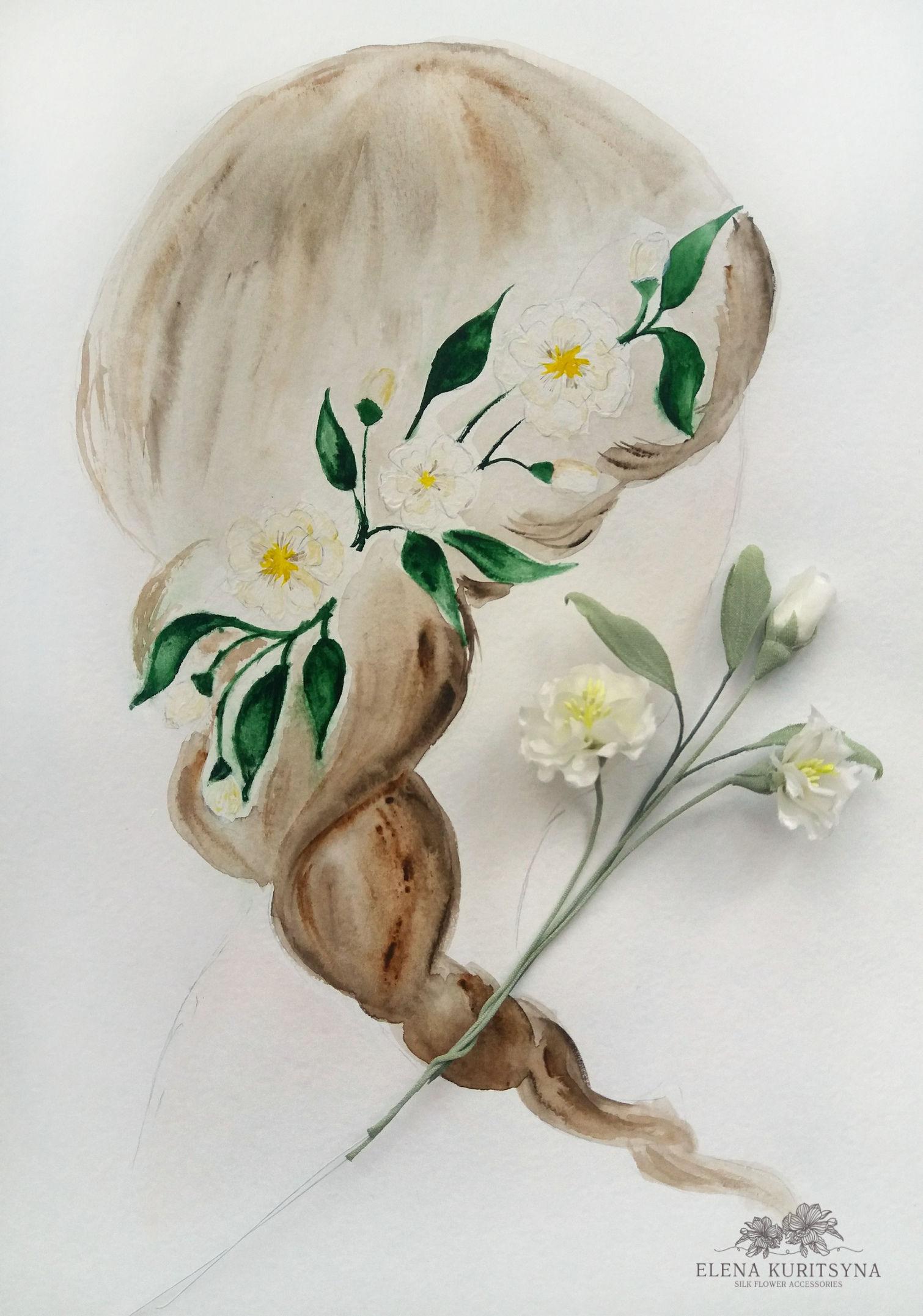 Создаем свадебный аксессуар цветочки «Флёри» из шелка, фото № 1