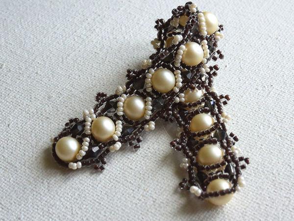 Видеоурок: плетем узкий браслет из бисера и бусин «Зефир в шоколаде» | Ярмарка Мастеров - ручная работа, handmade