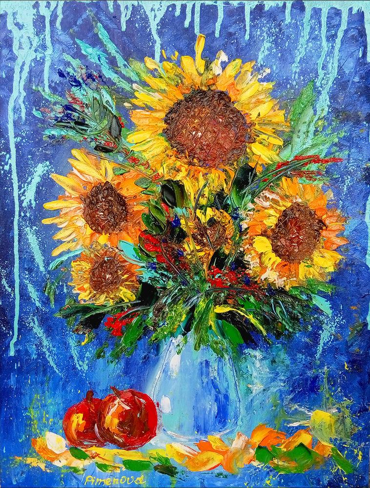 цветы в вазе, картина в спальню