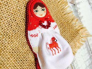 Мастерим расшитую бисером брошь «Славяночка» в виде куклы-матрешки. Ярмарка Мастеров - ручная работа, handmade.