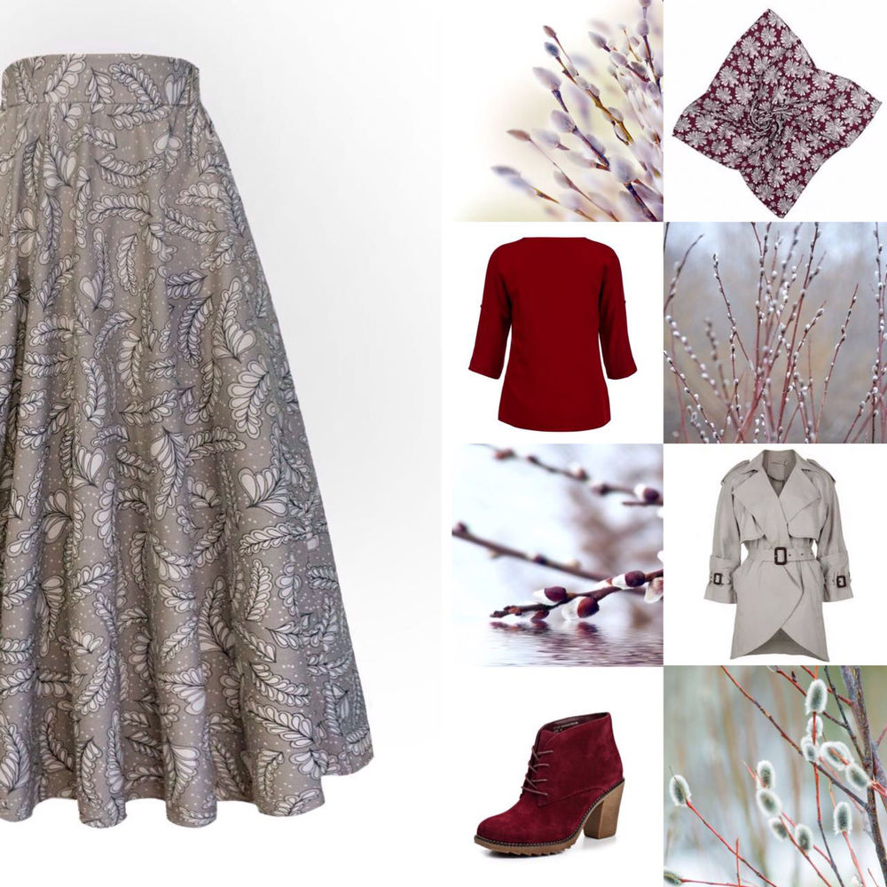 верба, серый, длинная юбка, вербное воскресенье