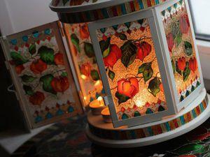 Витражная роспись большого садового фонаря. Эффект