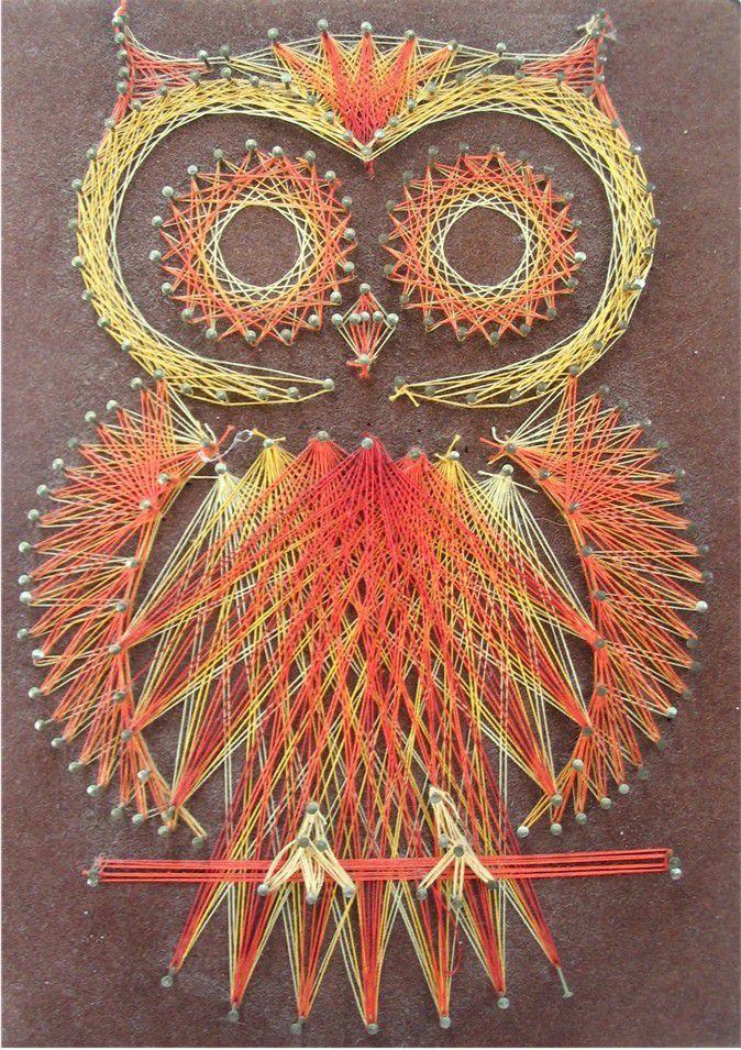 Стринг арт схема сова