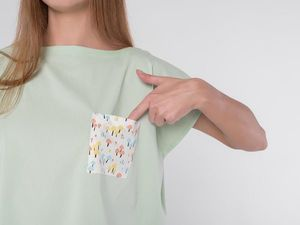 YOKU в деталях: мятная блуза оверсайз из хлопка с контрастным карманом. Ярмарка Мастеров - ручная работа, handmade.