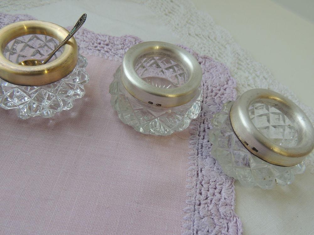 серебро, хрустальная солонка