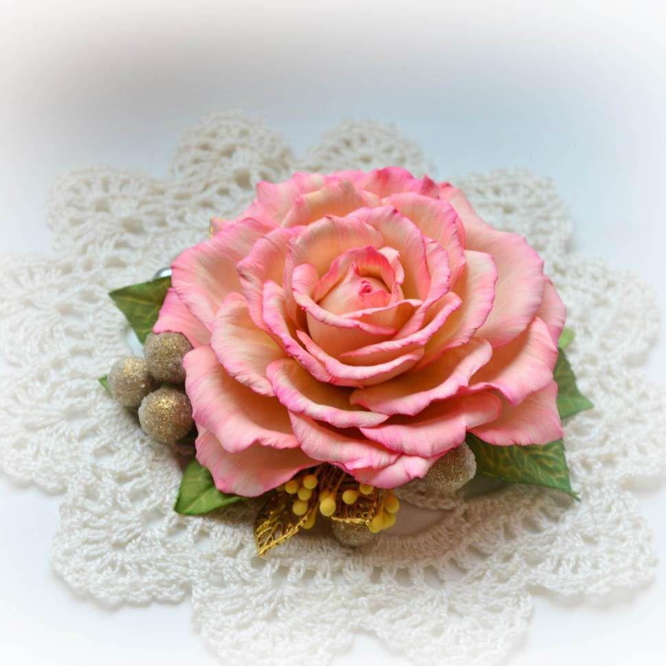 роза из фоамирана, мк цветы из фоамирана, украшение для волос мк