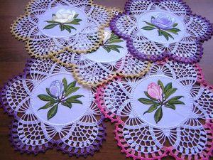 Галерея вязаных салфеток с вышивкой. Ярмарка Мастеров - ручная работа, handmade.