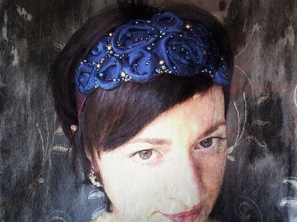 Ободок для волос с синими розами,новинка!   Ярмарка Мастеров - ручная работа, handmade