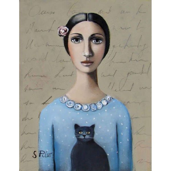 girl and cat, картины кошка