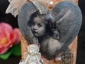Нежный Ангел, бутылка в стиле шебби!. Ярмарка Мастеров - ручная работа, handmade.
