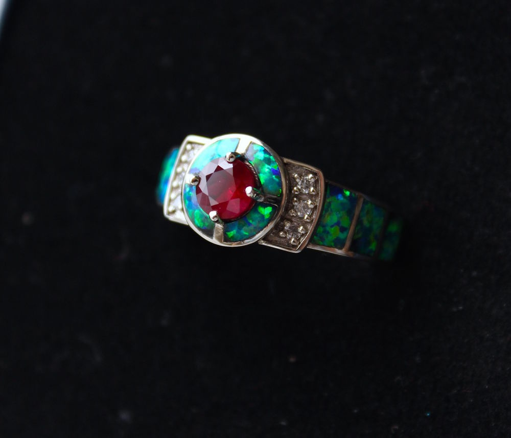 черный опал, кольцо с рубином