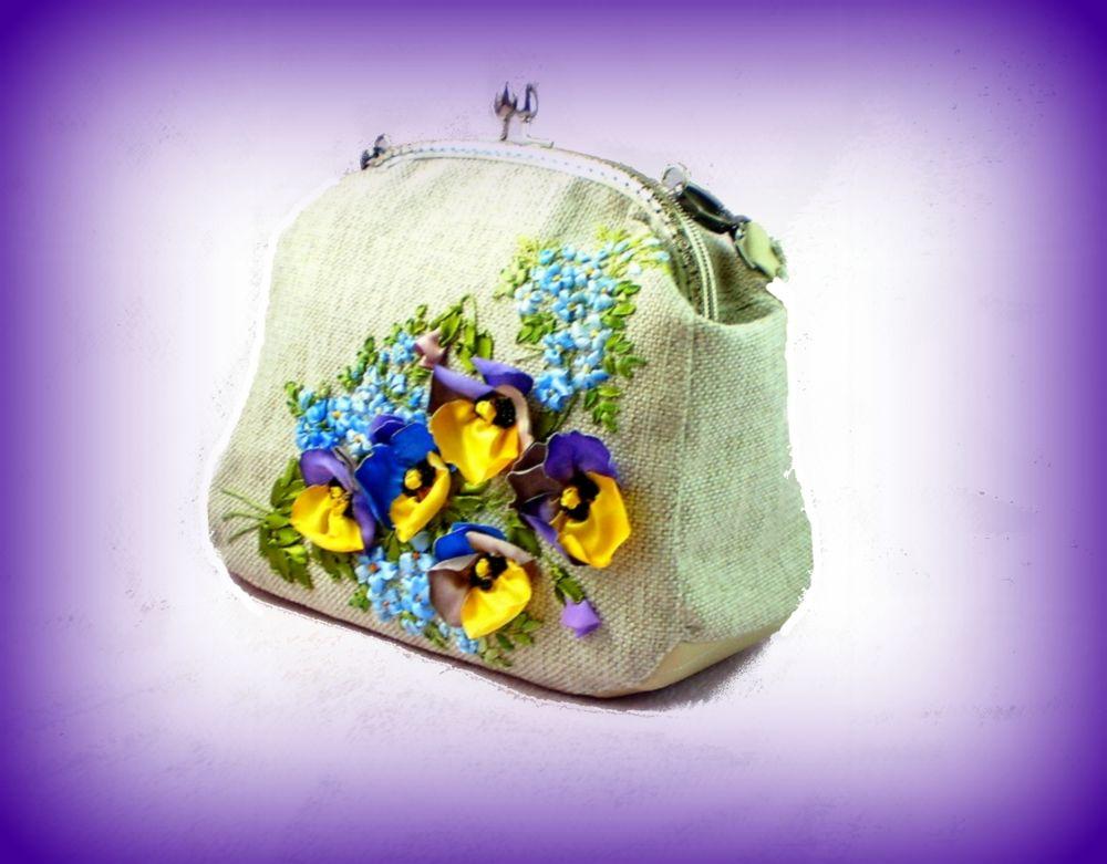 сумка женская, сумка ручной работы, анютины глазки, скидки, новинка, торг