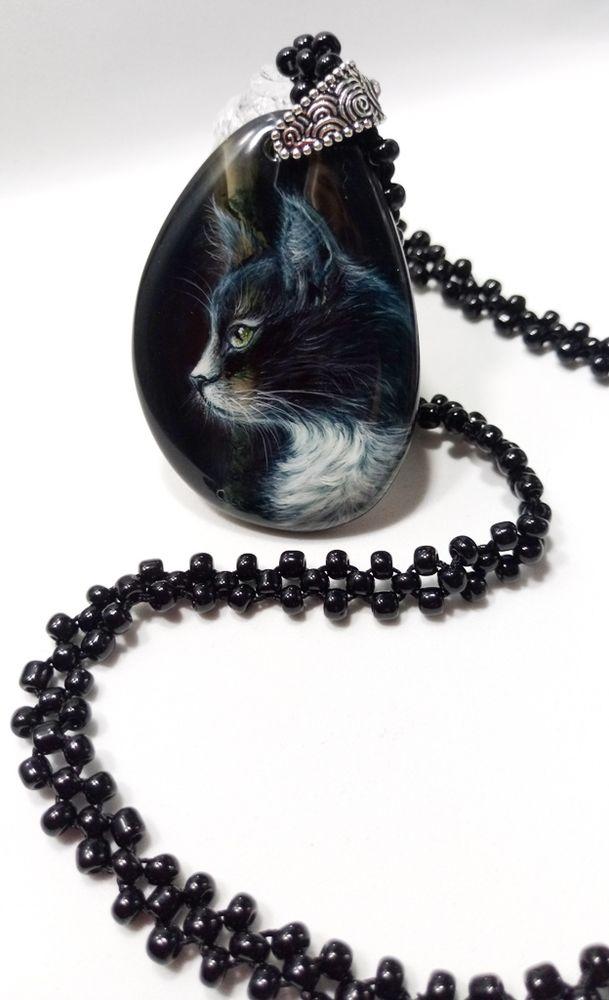 кулон кот, лаковая миниатюра кулон