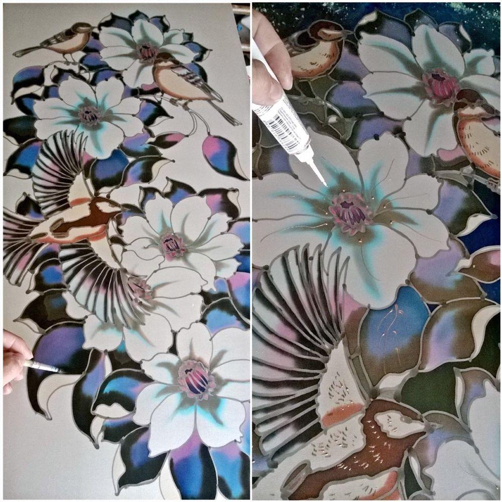 батик, роспись шелка, роспись по ткани
