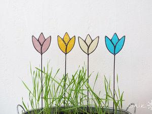 Витражные цветы. Декор в цветочный горшок. Ярмарка Мастеров - ручная работа, handmade.