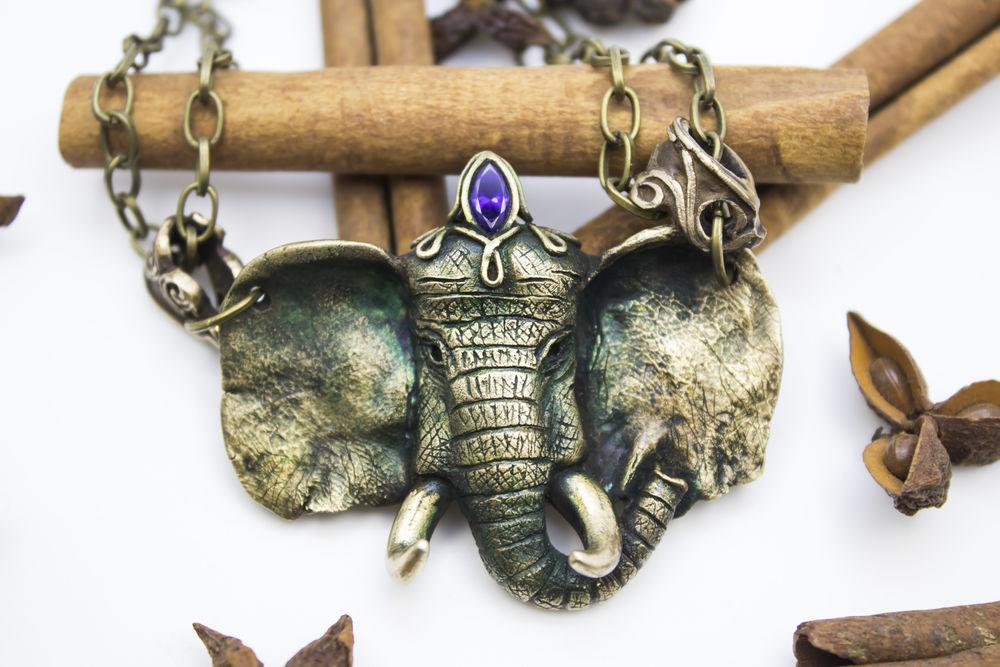 слон, бронзовые украшения, винтажный кулон
