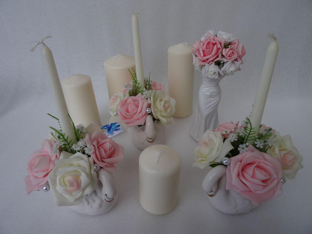 свечи, свадебные свечи, свадебный декор, украшение свадьбы, семейный очаг, розовый зефир, свечи семейный очаг, белый, розовый, лебедь, elena karafuto