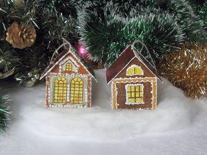 Мастерим новогодние домики на ёлку из чайной упаковки. Ярмарка Мастеров - ручная работа, handmade.