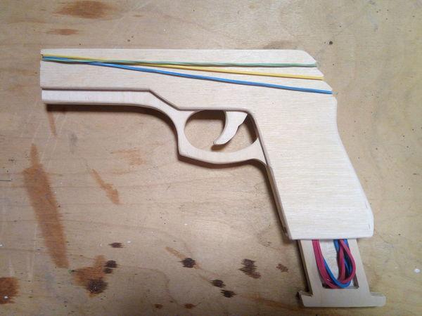 Мастерим пистолет-резинострел из фанеры   Ярмарка Мастеров - ручная работа, handmade