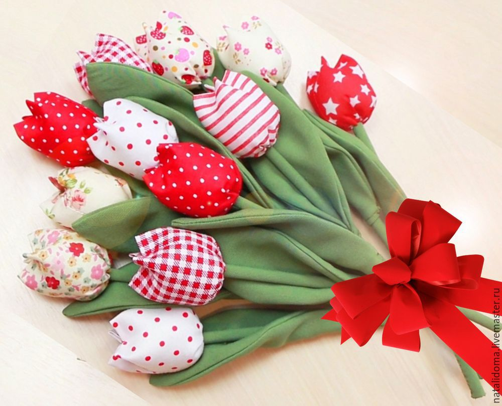 тюльпаны, из ткани, цветы из ткани