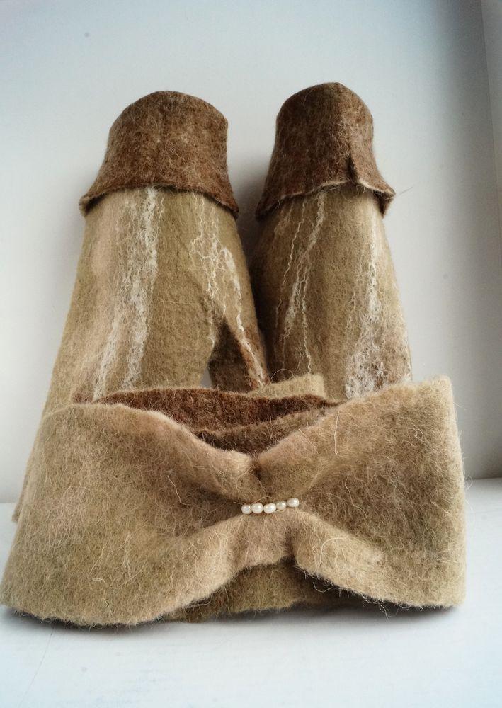 митенки из шерсти, ободок из шерсти