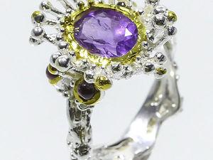 """Серебряное кольцо из аметиста """"Цветок"""", размер 16. Ярмарка Мастеров - ручная работа, handmade."""
