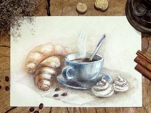 Как нарисовать пастелью чашечку кофе с круассанами и безе. Ярмарка Мастеров - ручная работа, handmade.