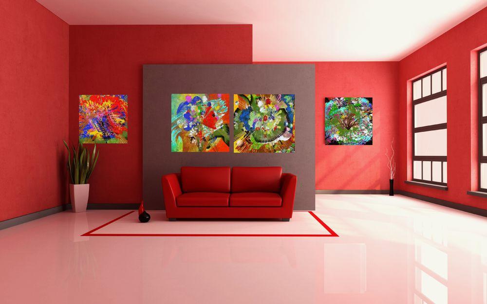 картина для интерьера, весна, триптих, абстрактная живопись, модульная картина
