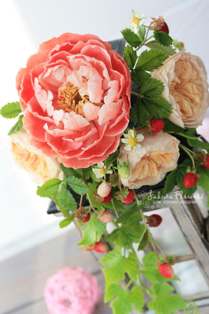 мастер класс, цветы из глины, флористика ручной работы, древовидный пион