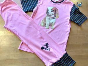 """НОВИНКА! Видеообзор — Домашний костюм /пижама для девочки рост 140-146 """"Пинки"""". Ярмарка Мастеров - ручная работа, handmade."""