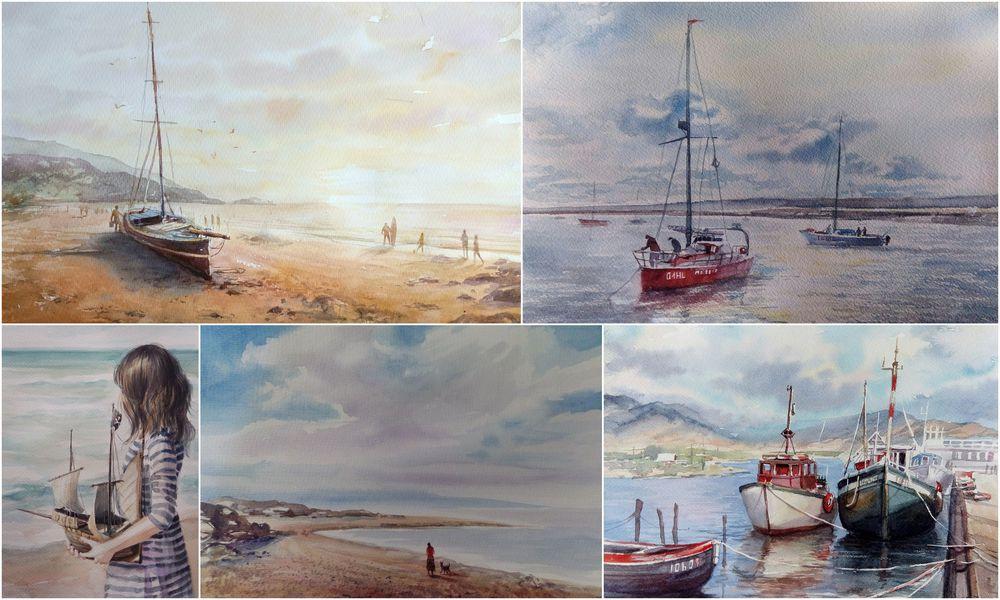продажа картин, картины акварелью, новогодние подарки, море, картина в подарок