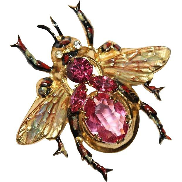 Large Coro Sterling Enamel Pink Rhinestone Bee Pin Brooch 1940's /Although this pin is Not marked, it is Coro and it is Sterling. The signed green version can be seen in Collecting Costume Jewelry 202 First edition on page 112 /275