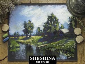 Видео мастер-класс: рисуем деревенский пейзаж сухой пастелью. Ярмарка Мастеров - ручная работа, handmade.