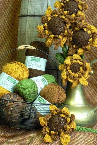 free sunflower with stem crochet pattern