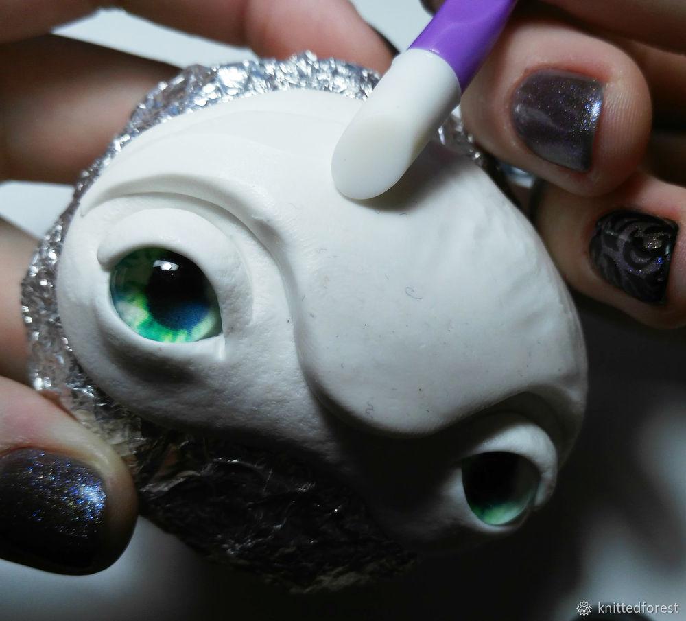 Процесс создания авторской игрушки из полимерной глины. Часть 1. Лепка мордочки, фото № 24