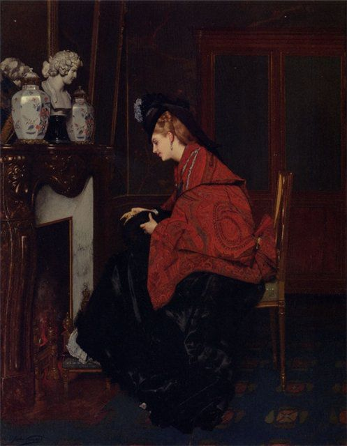 By The Fireplace 1839-1883 Jules Adolphe Goupil