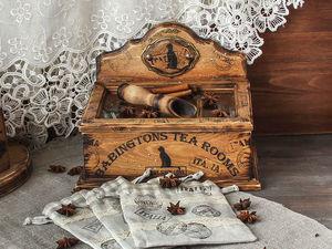 Вы любите чай? Короб для рассыпного чая с мешочками и ложкой!   Ярмарка Мастеров - ручная работа, handmade
