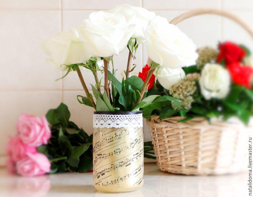 ваза, ваза из банки, как сделать вазу, как сделать, мастер-класс, декор, ваза для цветов, ваза с принтом