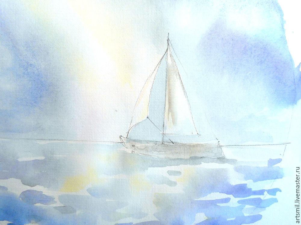 морской пейзаж, акварельная картина