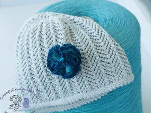 Цветок крючком – украшение  шапочки /пальто | Ярмарка Мастеров - ручная работа, handmade