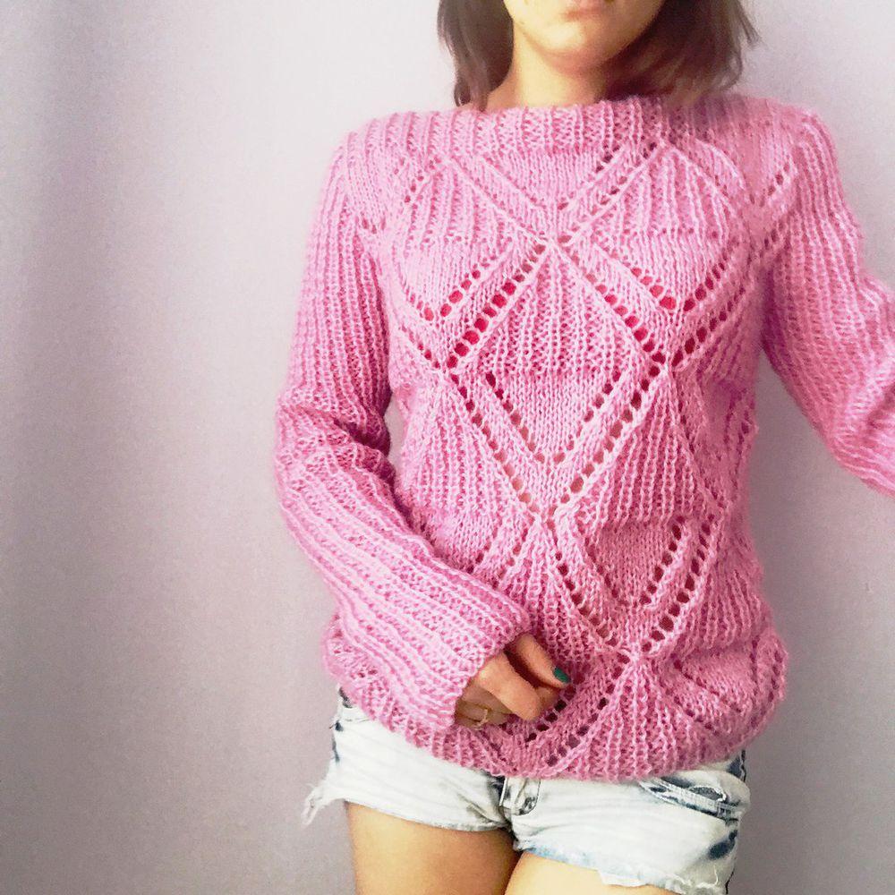 вязаный свитер, купить свитер, ажурный свитер, нежно розовый, подарок, подарок на 8 марта