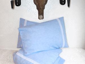 Льняное постельное белье голубого цвета. Ярмарка Мастеров - ручная работа, handmade.