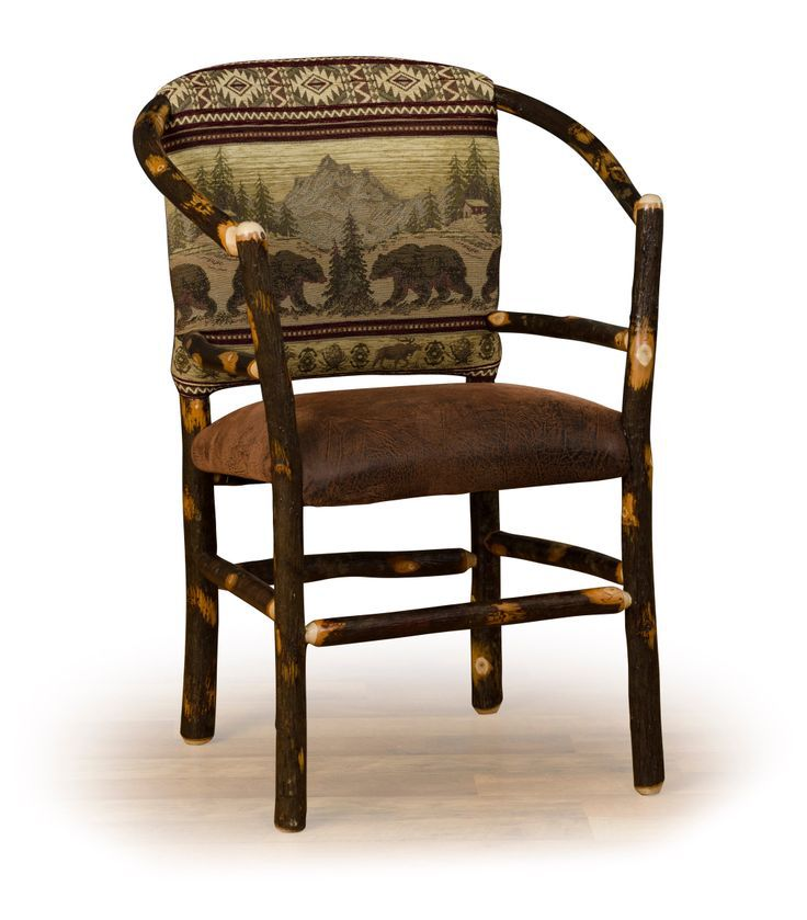 Rustic hickory hoop chair with faux brown leather seat and rustic pattern upholstered back.  Great style for a rustic lodge, country cottage, or ski cabin.  Amish made in the USA.